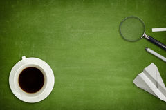 Green blank blackboard with coffee cup Royalty Free Stock Image