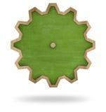 Green blank cogwheel shape blackboard with wooden Royalty Free Stock Images