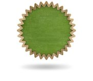 Green blank cogwheel shape blackboard with wooden Stock Photo