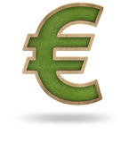 Green blank euro sign shape blackboard Royalty Free Stock Image