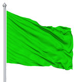 Green blank flag with flagpole Stock Image
