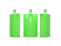 Green blank juice  bag packaging with spout lid, clipping path i Stock Images