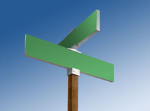 Green blank street sign in blue skies Stock Image
