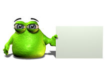 Green blob. A green cartoon blob character holding a blank sign royalty free illustration