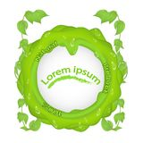 Green BLOB with branches leaves and drops of dew and the inscription 100 natural product, with a place under the text in the middl. Green BLOB with branches vector illustration