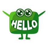 Green Blob Saying Hello, Cute Emoji Character With Word In The Mouth Instead Of Teeth, Emoticon Message Stock Photography