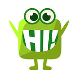 Green Blob Saying Hi, Cute Emoji Character With Word In The Mouth Instead Of Teeth, Emoticon Message. Cartoon Abstract Emoticon With Text In Flat Vector Stock Photography
