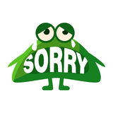Green Blob Saying Sorry, Cute Emoji Character With Word In The Mouth Instead Of Teeth, Emoticon Message Stock Images