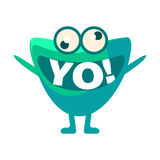 Green Blob Saying Yo, Cute Emoji Character With Word In The Mouth Instead Of Teeth, Emoticon Message Royalty Free Stock Photography