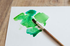 Green blobs. Blots shades of green on paper royalty free stock image