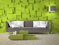 Green blocks wall and furniture Royalty Free Stock Photos