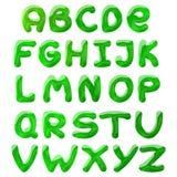 Green blots alphabet. Vector illustration of green blots cartoon alphabet for design royalty free illustration