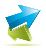 Green and blue 3d arrows stock illustration
