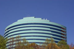 Green on Blue. Green office building against blue sky Royalty Free Stock Photo