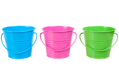Free Green, Blue And Pink Pails, Buckets Royalty Free Stock Photos - 37562978