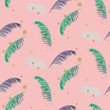 Green blue banana palm leaves pink seamless vector pattern. Royalty Free Stock Photos