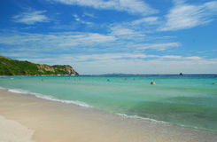 Green and blue beach of Larn Island. Long beach at Koh Larn, Pattaya Royalty Free Stock Images