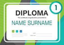 Green blue black A4 Diploma certificate background template layout design. Vector Royalty Free Stock Photos
