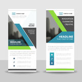 Green blue black roll up business brochure flyer banner design , cover presentation abstract geometric background stock illustration