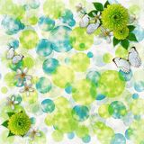 Green and blue bokeh background for greeting carg Royalty Free Stock Image