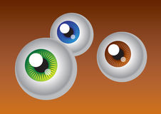 Green, blue and brown eye. Big brown eye on brown background stock illustration