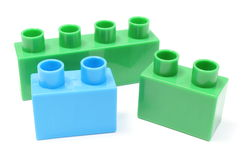 Green and blue building blocks on white background Stock Photography