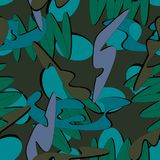 Green and blue camouflage. Is a colorful seamless pattern that can be used as a camo print for clothing and background and backdrop or computer wallpaper Royalty Free Stock Photo
