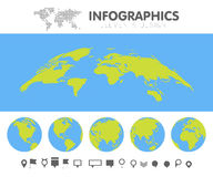 Green and blue cartoon world map globe and pins collection set. Template for infographics vector illustration Royalty Free Stock Photography