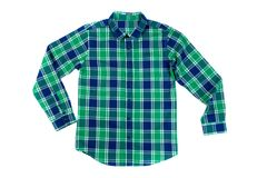 Green with a blue checkered shirt. Isolate on white Stock Photography