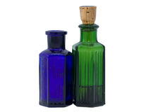 Green and blue chemical bottles Stock Image