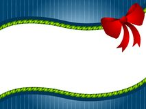 Green Blue Christmas Bow Border. A background illustration featuring blue  striped pattern, green twisted ribbon and big red bow as a swoosh for use as Royalty Free Stock Photos
