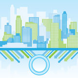 Green and blue city background stock photography