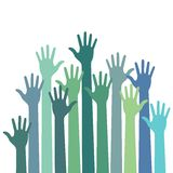 Green - blue colorful up hands. Vector illustration Stock Photo