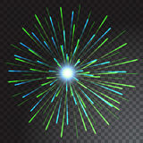Green and blue coloured firework isolated on transparent background. Vector illustration Royalty Free Stock Photos
