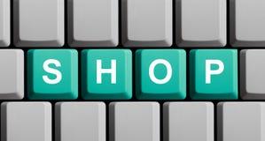 Green blue Computer Keyboard showing Shop stock photos