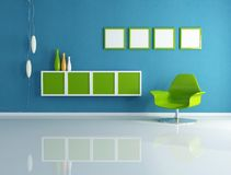 Green and blue contemporary living room vector illustration