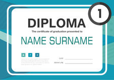 Green blue A4 Diploma certificate background template layout design. Vector Royalty Free Stock Photography