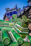Green and blue dragon old chinese roof details Royalty Free Stock Photo