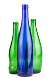 Green and blue empty bottles Royalty Free Stock Images