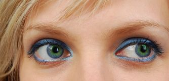 Green and blue eyes. Royalty Free Stock Photography