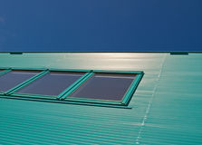Green blue facade. Of a building in the Netherlands Stock Photography