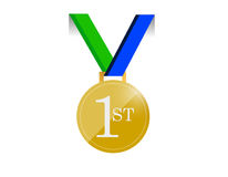Green and blue first place medal illustration. Design over a white background Royalty Free Stock Image