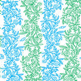 Green and blue flowers hand drawn seamless pattern. Vector illustration Royalty Free Stock Images