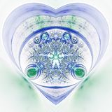 Green and blue fractal heart. Valentine`s day motive, digital artwork for creative graphic design Stock Photo