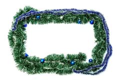 Green blue frame with balls for new year and christmas on a whit Royalty Free Stock Photography
