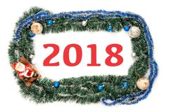 Green blue frame with balls and santa claus for new year and christmas  with numbers Royalty Free Stock Photo