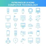 25 Green and Blue Futuro Computer Technology Icon Pack. This Vector EPS 10 illustration is best for print media, web design, application design user interface vector illustration