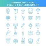 25 Green and Blue Futuro Events and Entertainment Icon Pack. This Vector EPS 10 illustration is best for print media, web design, application design user vector illustration
