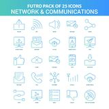 25 Green and Blue Futuro Network and Communication Icon Pack. This Vector EPS 10 illustration is best for print media, web design, application design user vector illustration