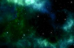 Green blue galaxy with stars stock illustration